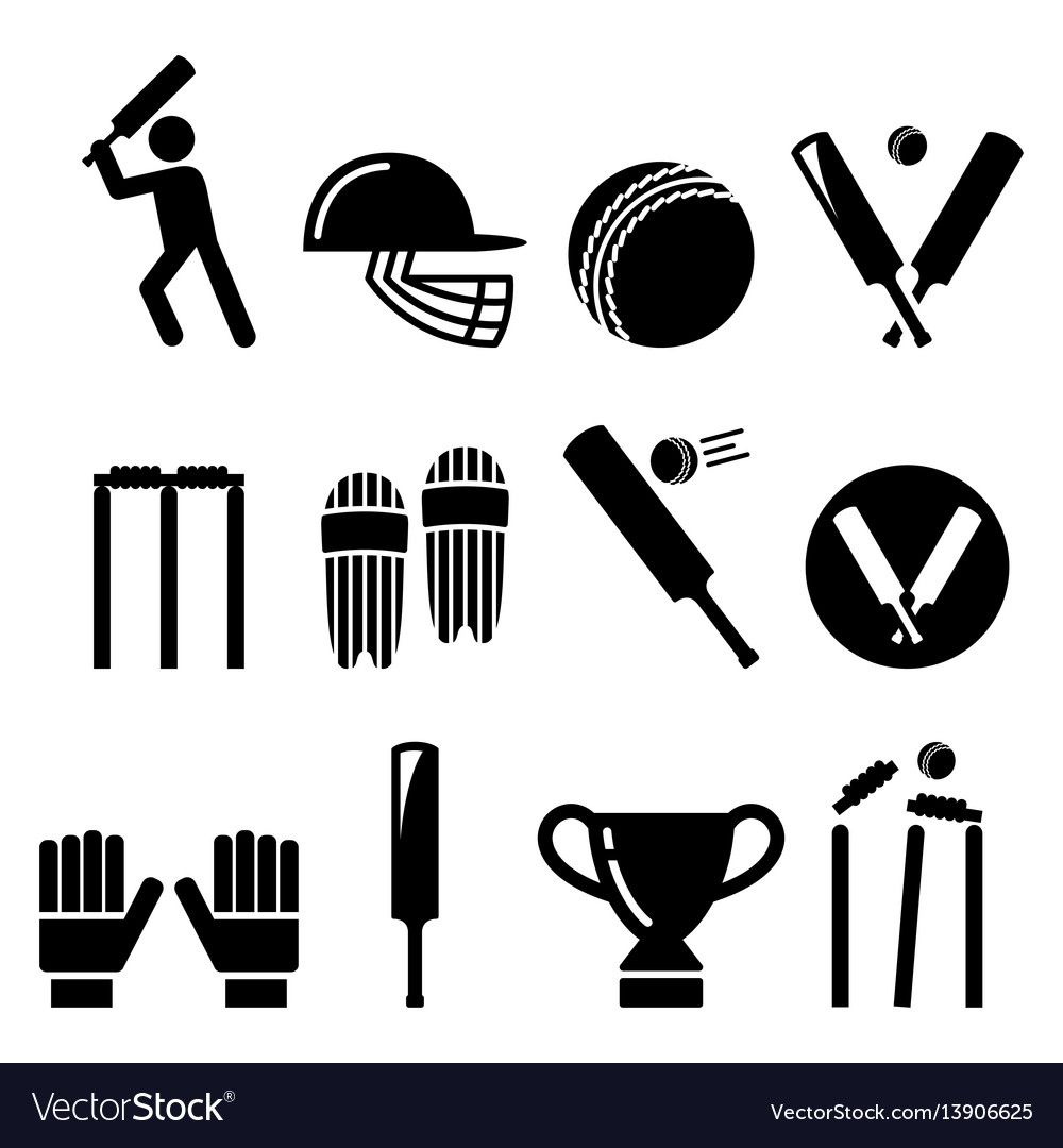 Cricket bat man playing cricket equipment