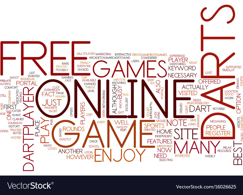 Free Online Darts Game Text Background Word Cloud Vector Image