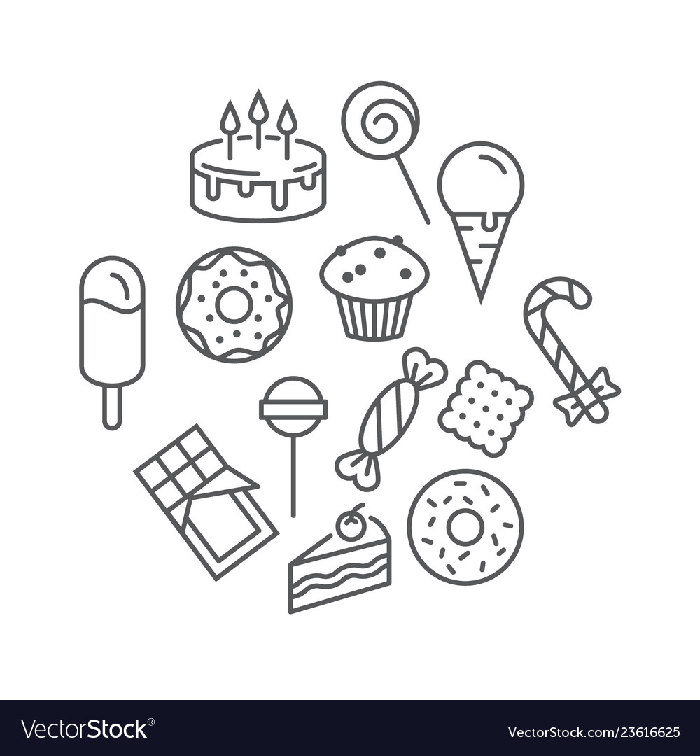 Sweets icons set isolated on a white background