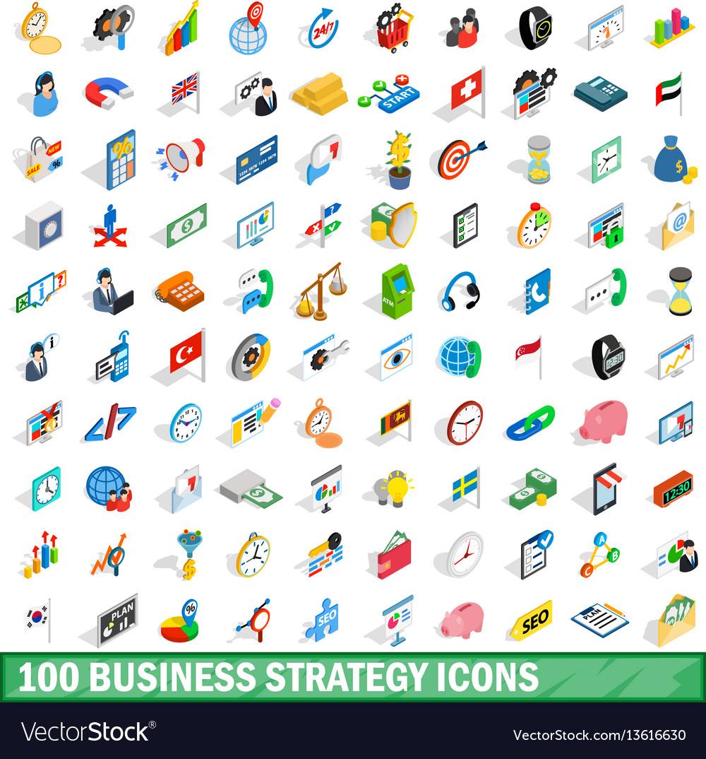 100 business strategy icons set isometric style