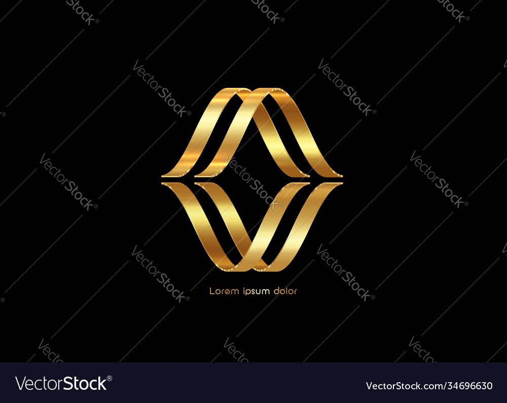 3d golden abstract letter m gold luxury business