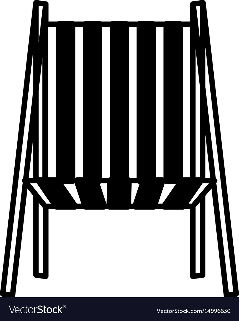Black silhouette of beach chair front view