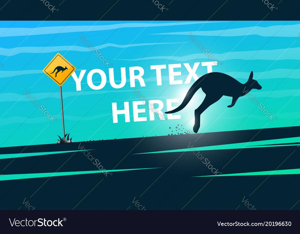 Cartoon summer landscape kangaroo vector image