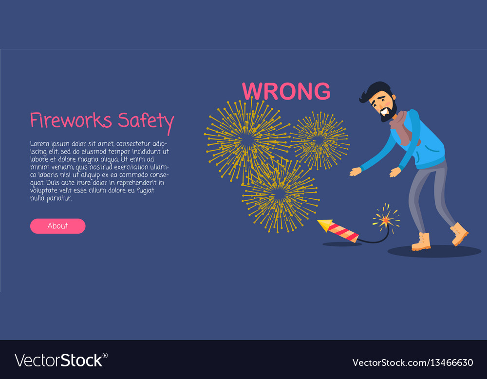 Fireworks safety man wrong using rocket on ground vector image