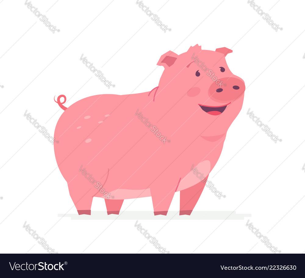 Happy pig - modern cartoon character