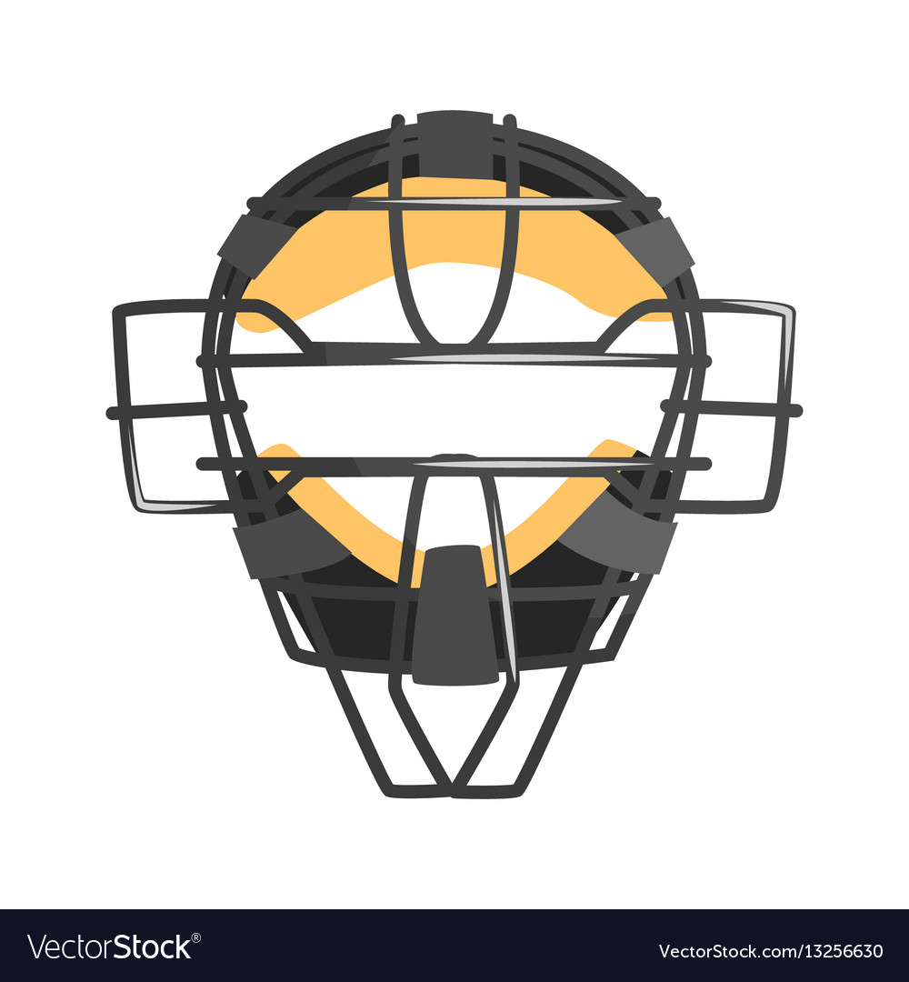 Metal wire face protection catcher mask part of Vector Image