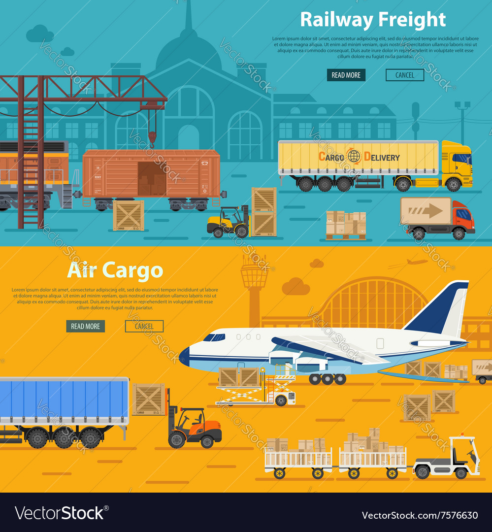 Railway Freight And Air Cargo Royalty Free Vector Image