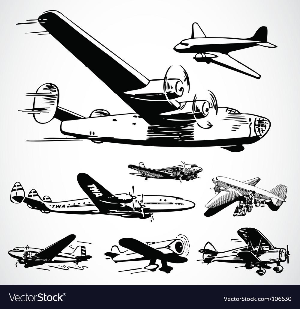 retro airplanes royalty free vector image vectorstock