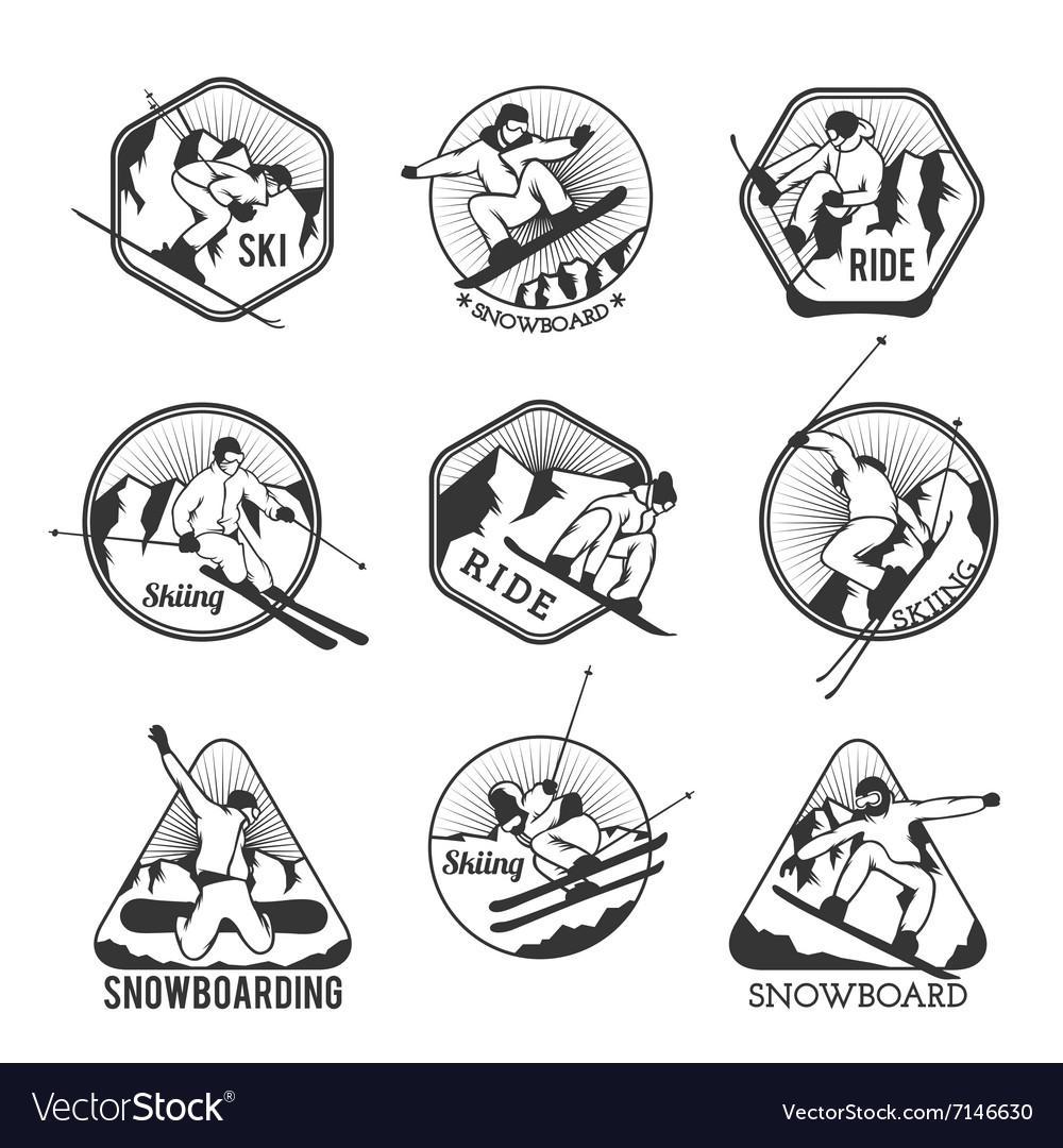 Ski resort logo emblems labels badges