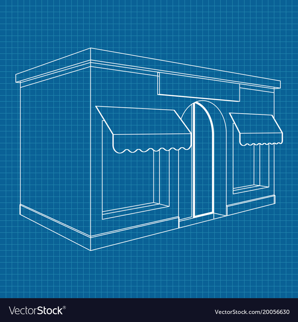 Store front white outline drawing on blueprint vector image malvernweather Gallery