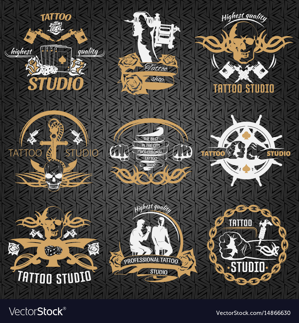 Tattoo vintage style labels