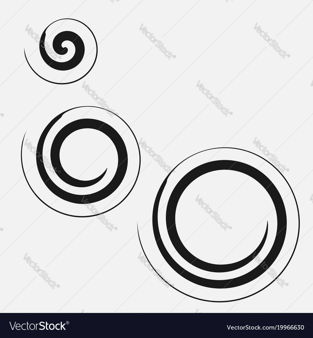 Three circular spirals of different sizes