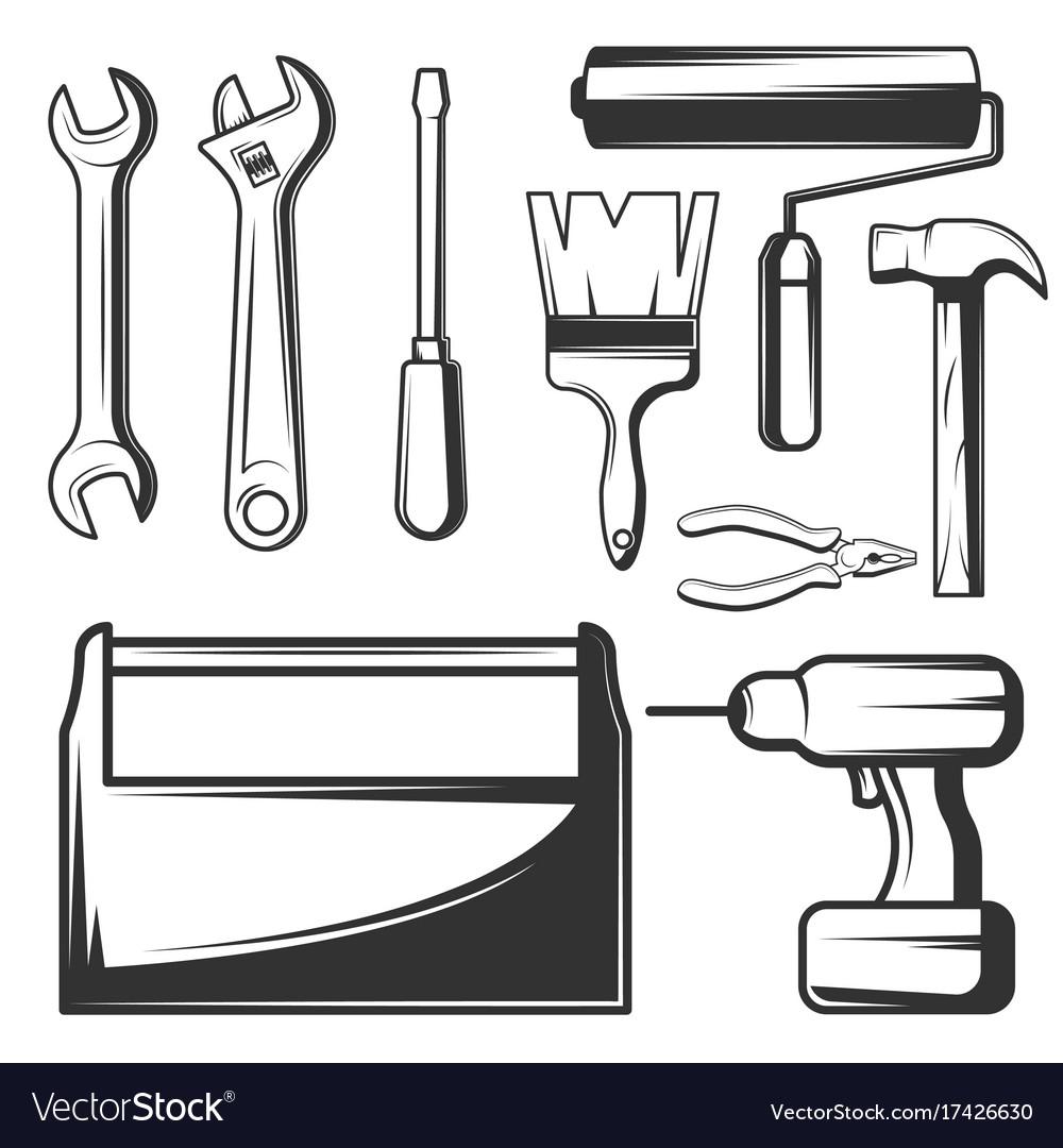 Vintage hand tools icons set