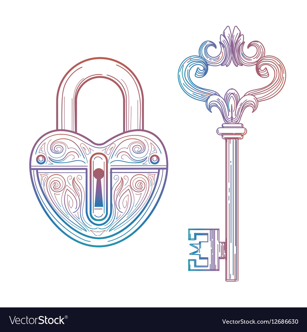 Vintage style key and heart lock vector image