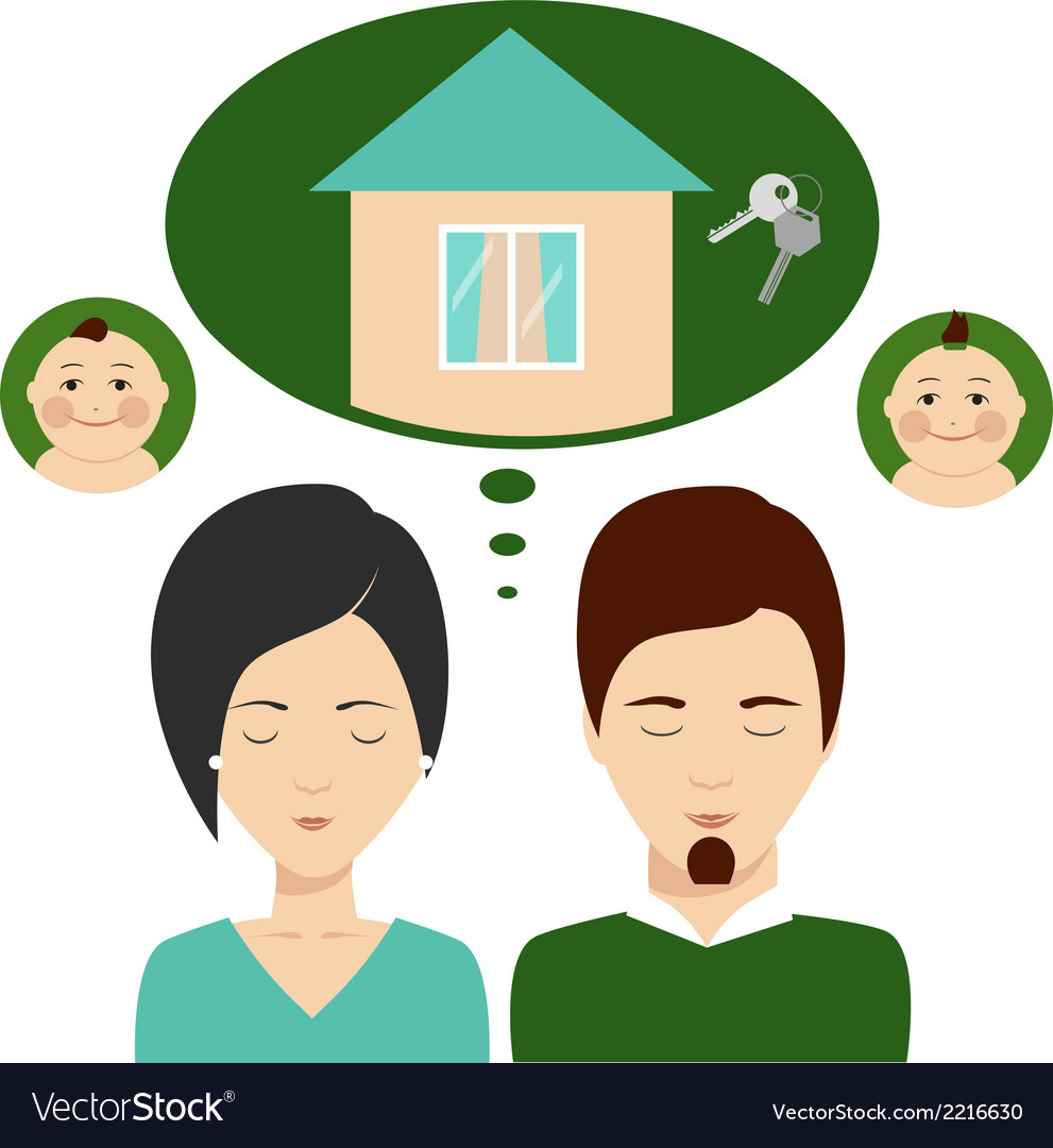 Young family thinks about mortgages vector image
