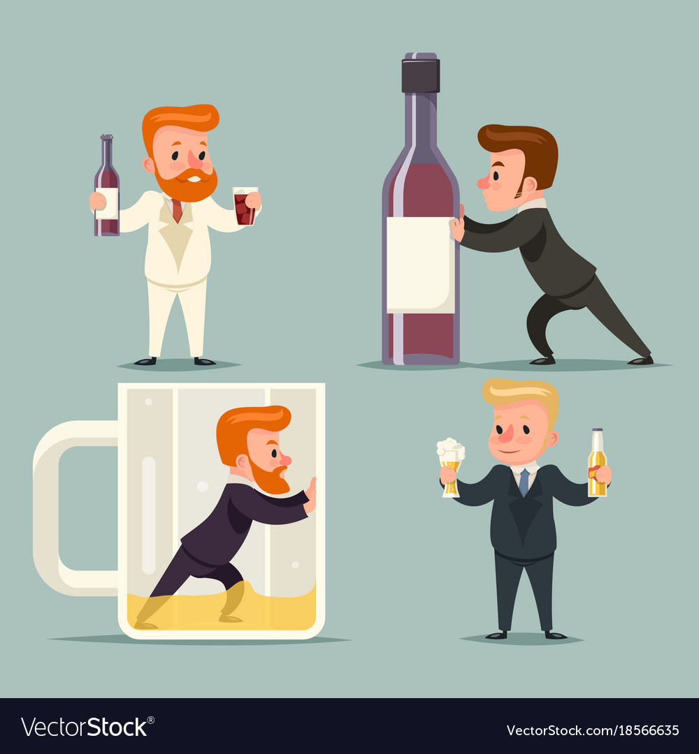Alcohol beer rum whiskey male guy character