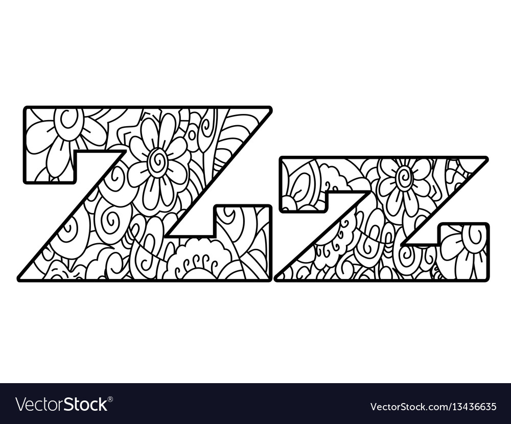 Anti coloring book alphabet the letter z Vector Image