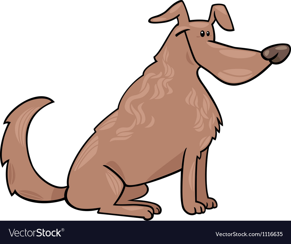 Cute sitting dog cartoon vector image