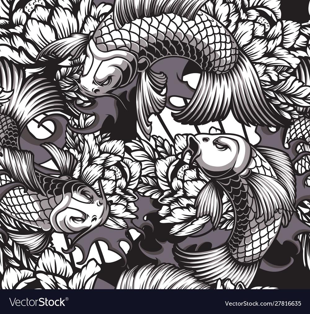 Japanese theme seamless pattern with koi carps