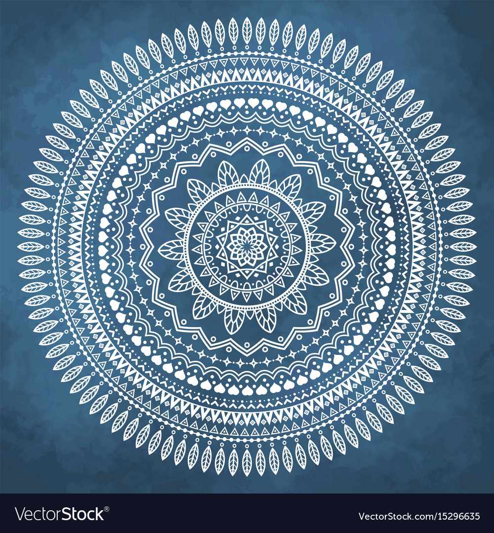 Mandala on grunge watercolor background vector image