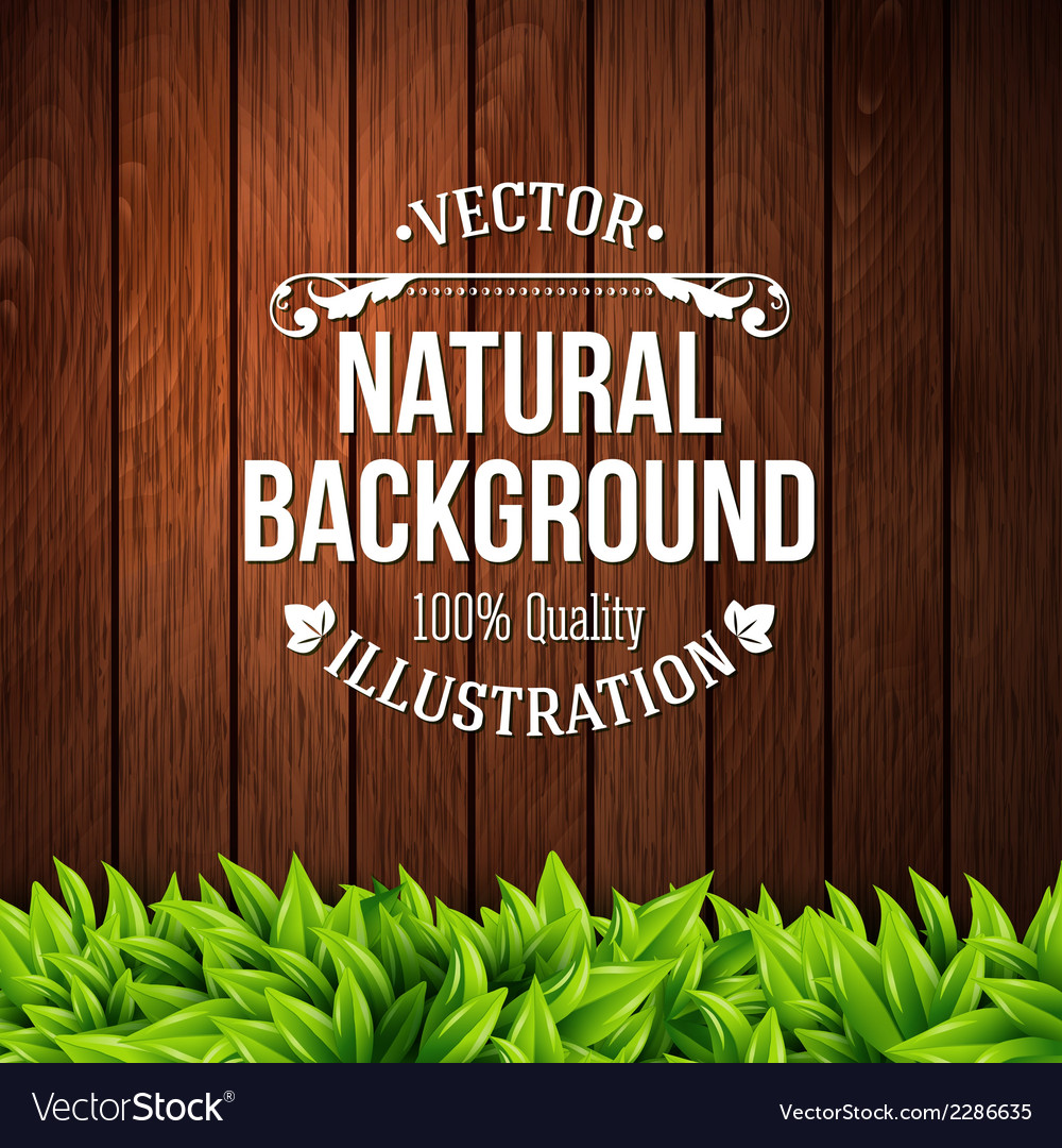Natural background with wooden planks and leaves