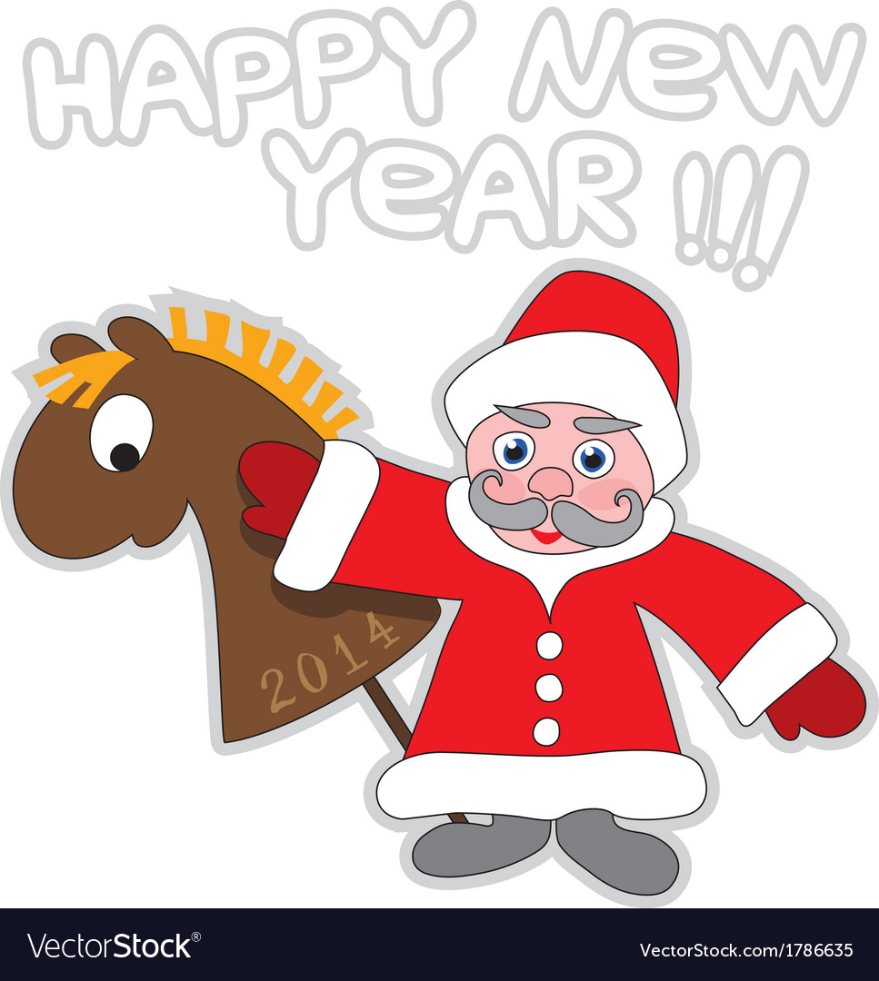 Santa Claus and wooden horse vector image