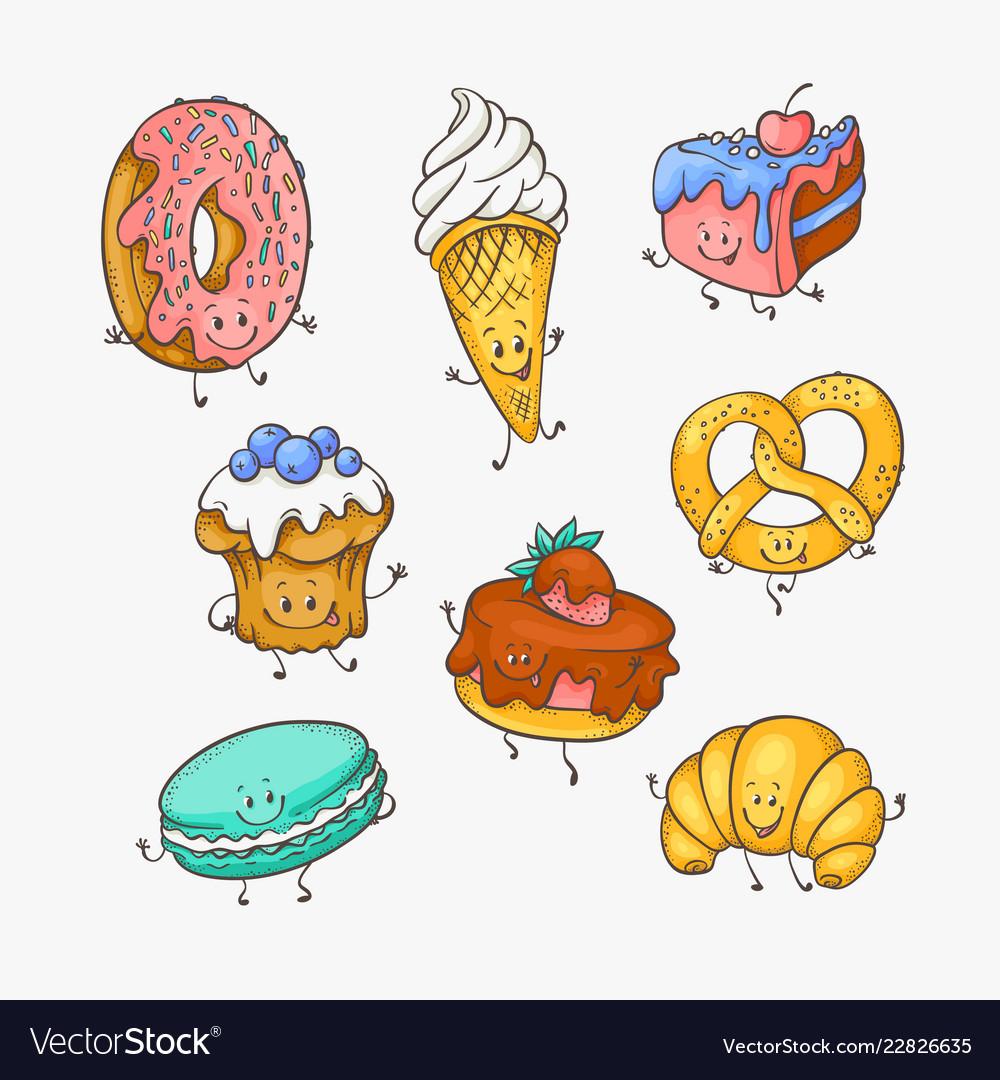 Set of cute sweet desserts