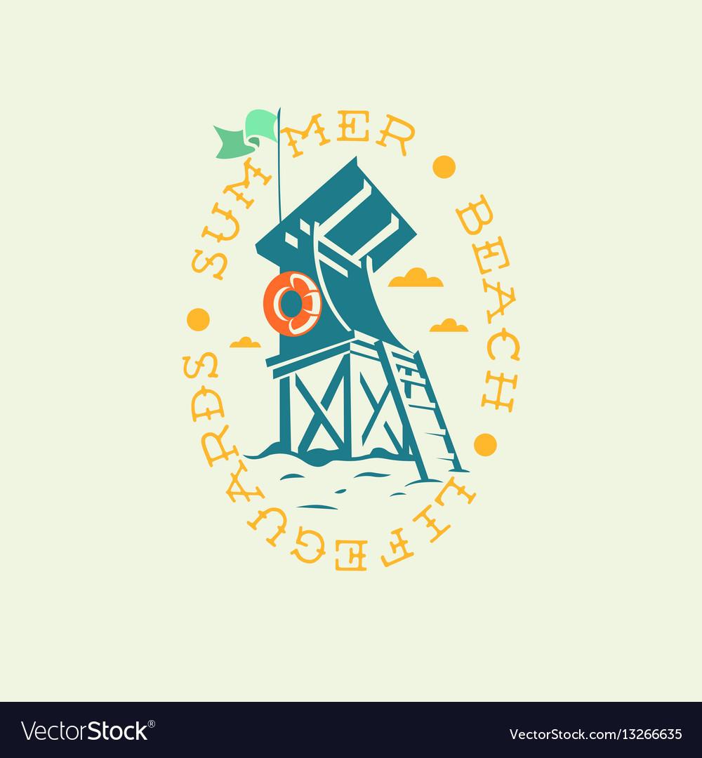 Summer beach lifeguards tower drawing oval emblem vector image