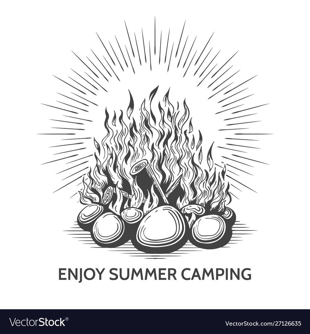 Vintage camping campfire label