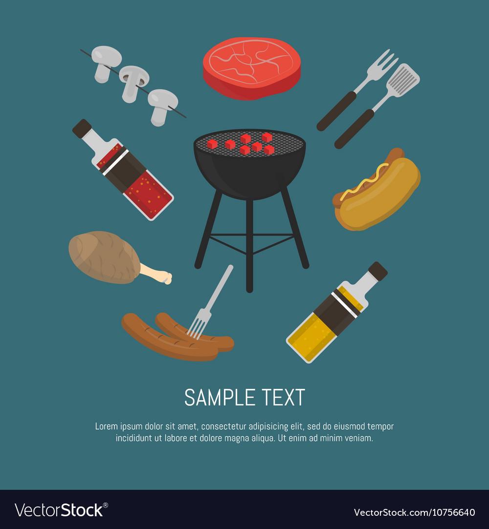 Barbecue grill card design template