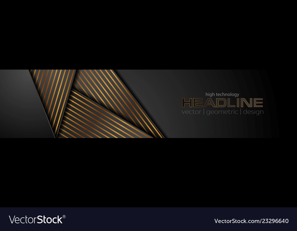 Black abstract corporate banner with bronze lines