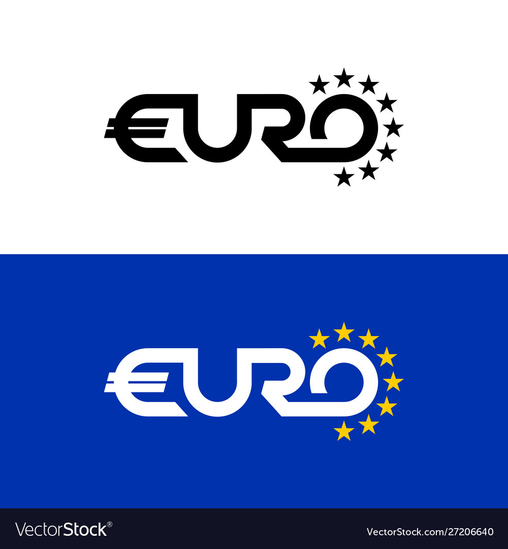 Euro word text logo with stars flag colors letter