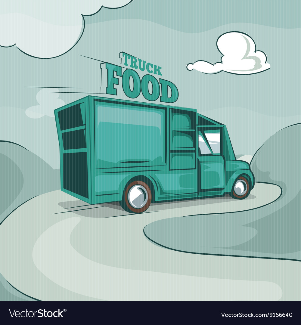 Food truck Vintage monochrome background