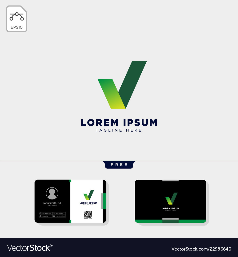 Green check logo template get free business card