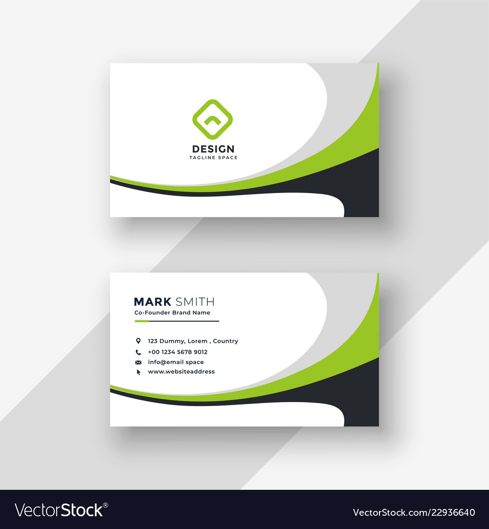 Green wavy professional business card design