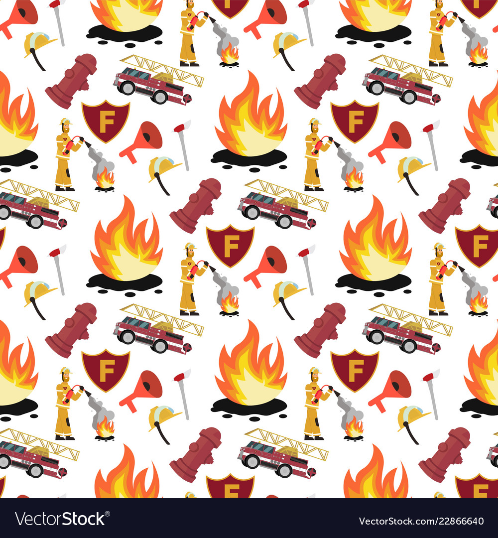 Image pattern firefighter and fire truck