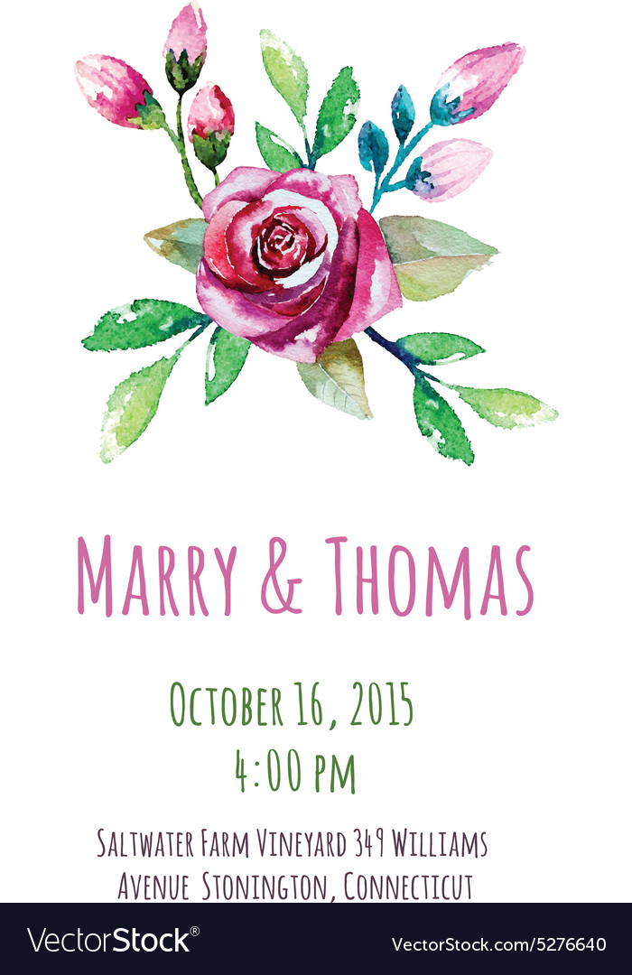 Invitation card with watercolor floral