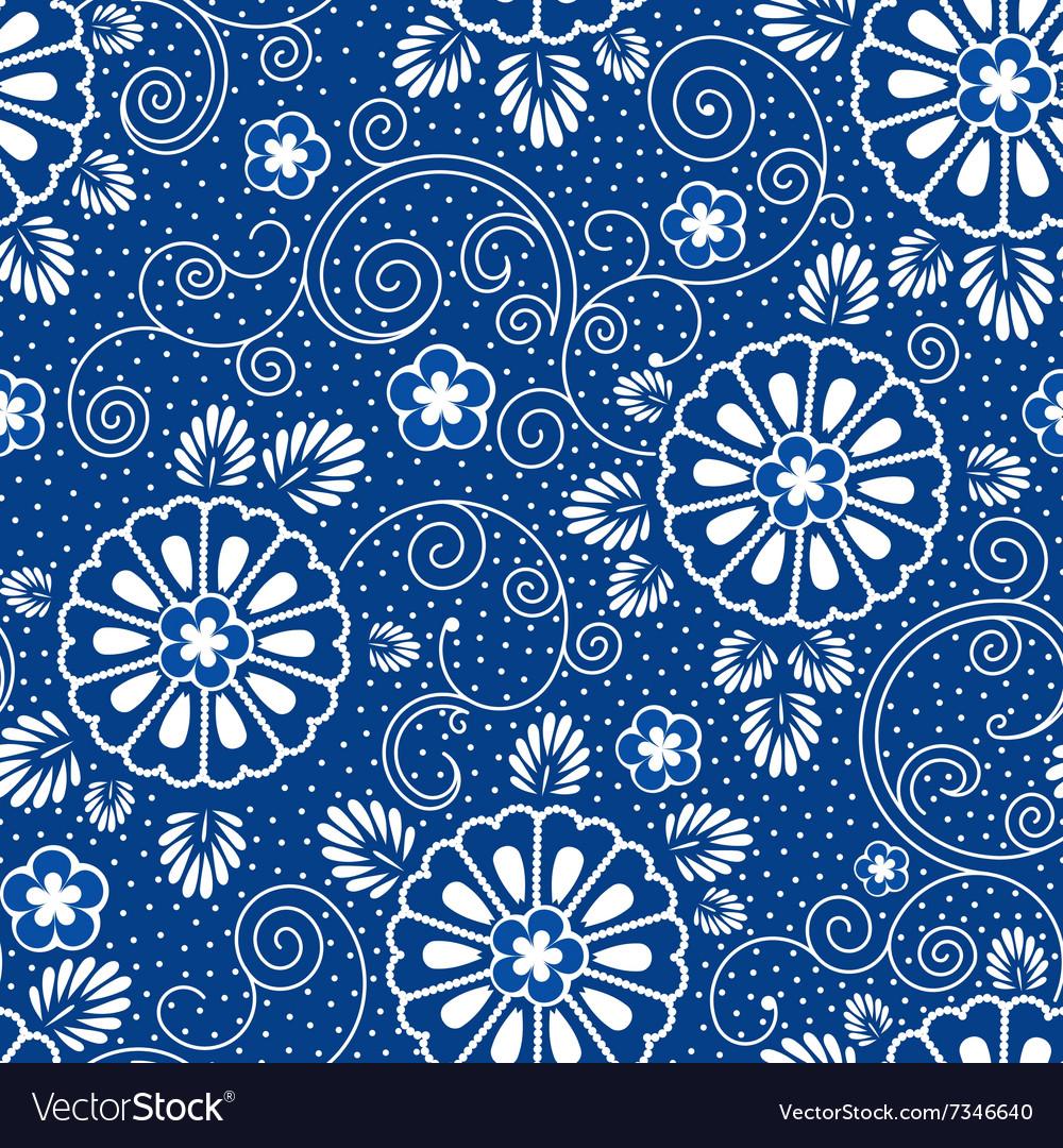 Japan Blue Floral Pattern Royalty Free Vector Image