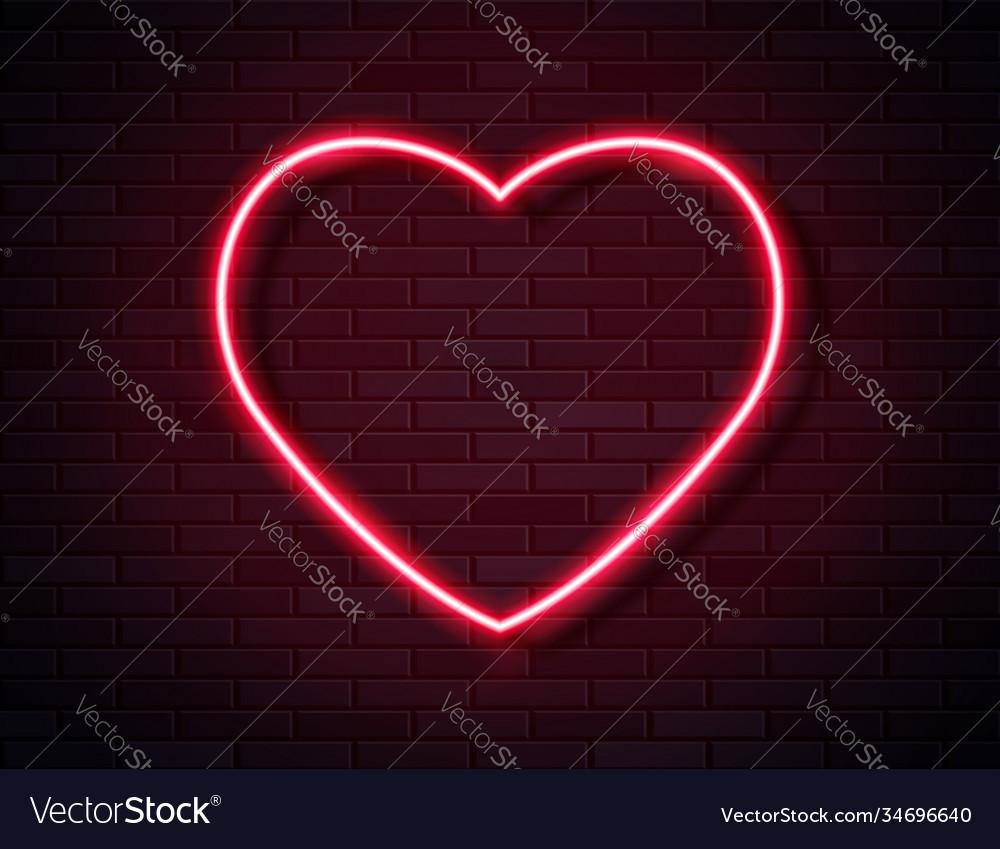 Neon red glowing heart banner on dark empty grunge