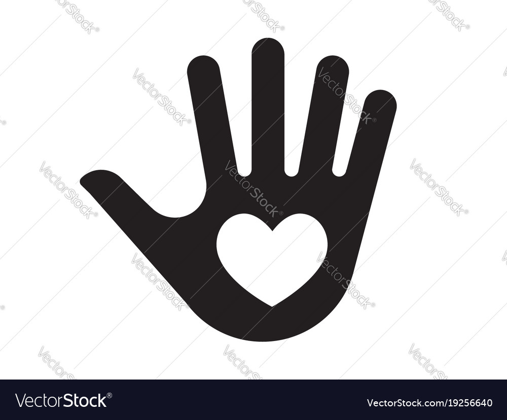 Palm Hand With Heart Icon Royalty Free Vector Image