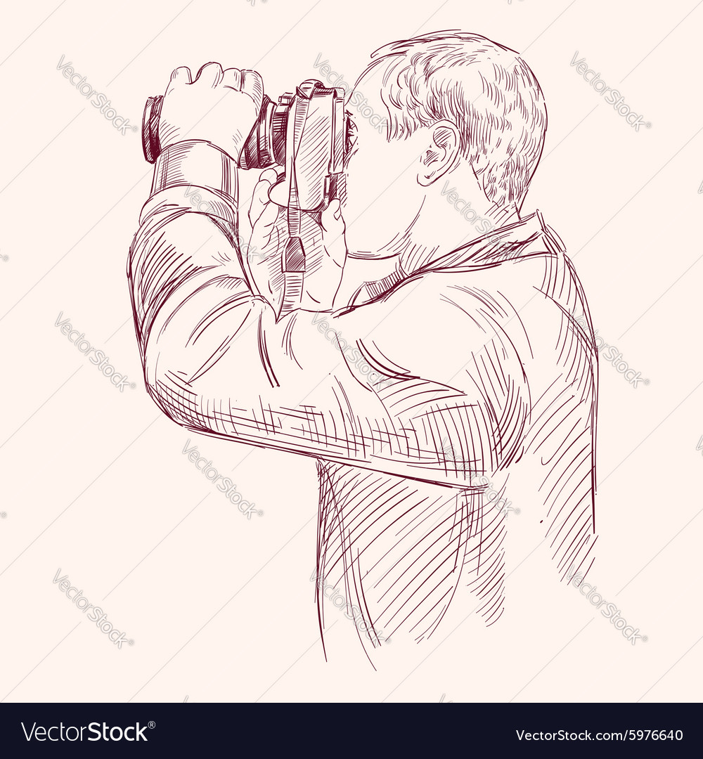 Photographer - hand drawn llustration vector image