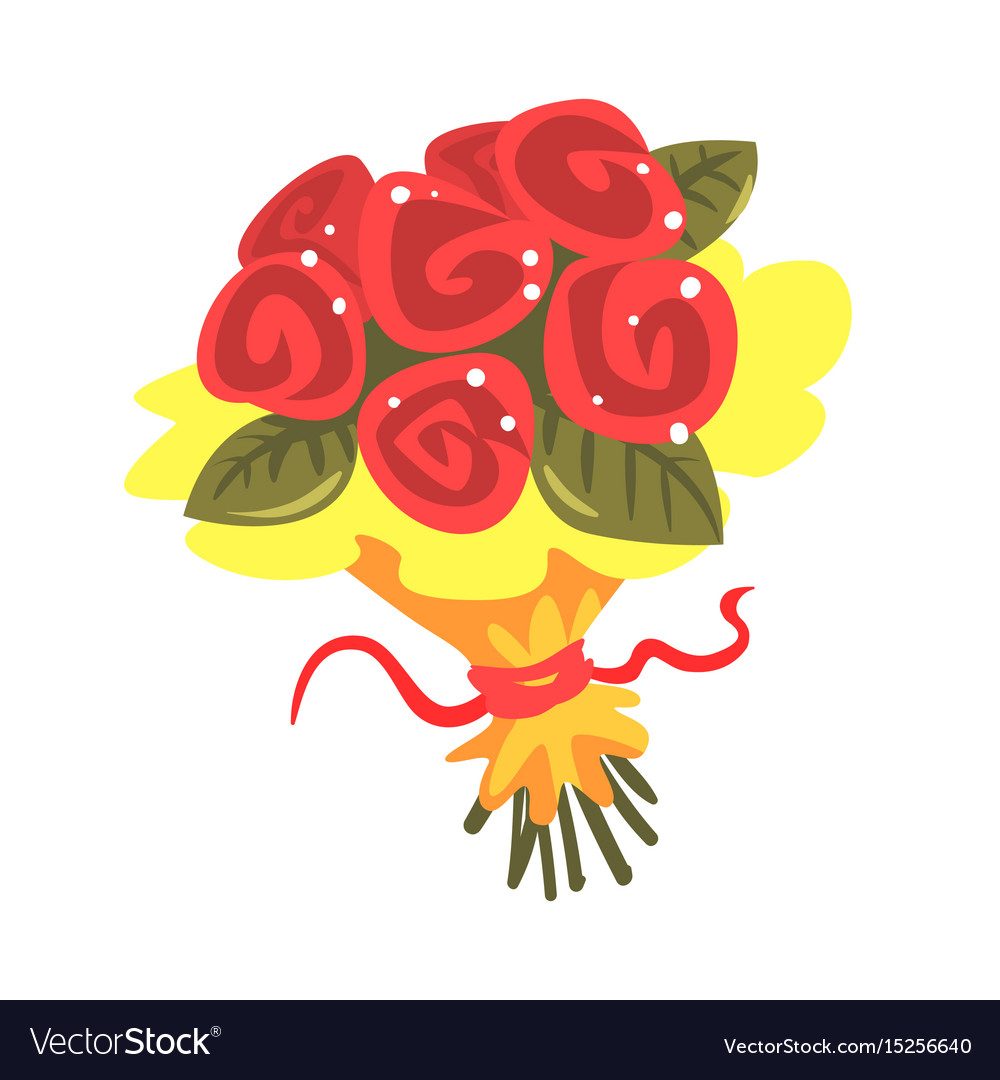 Red roses bouquet cartoon Royalty Free Vector Image