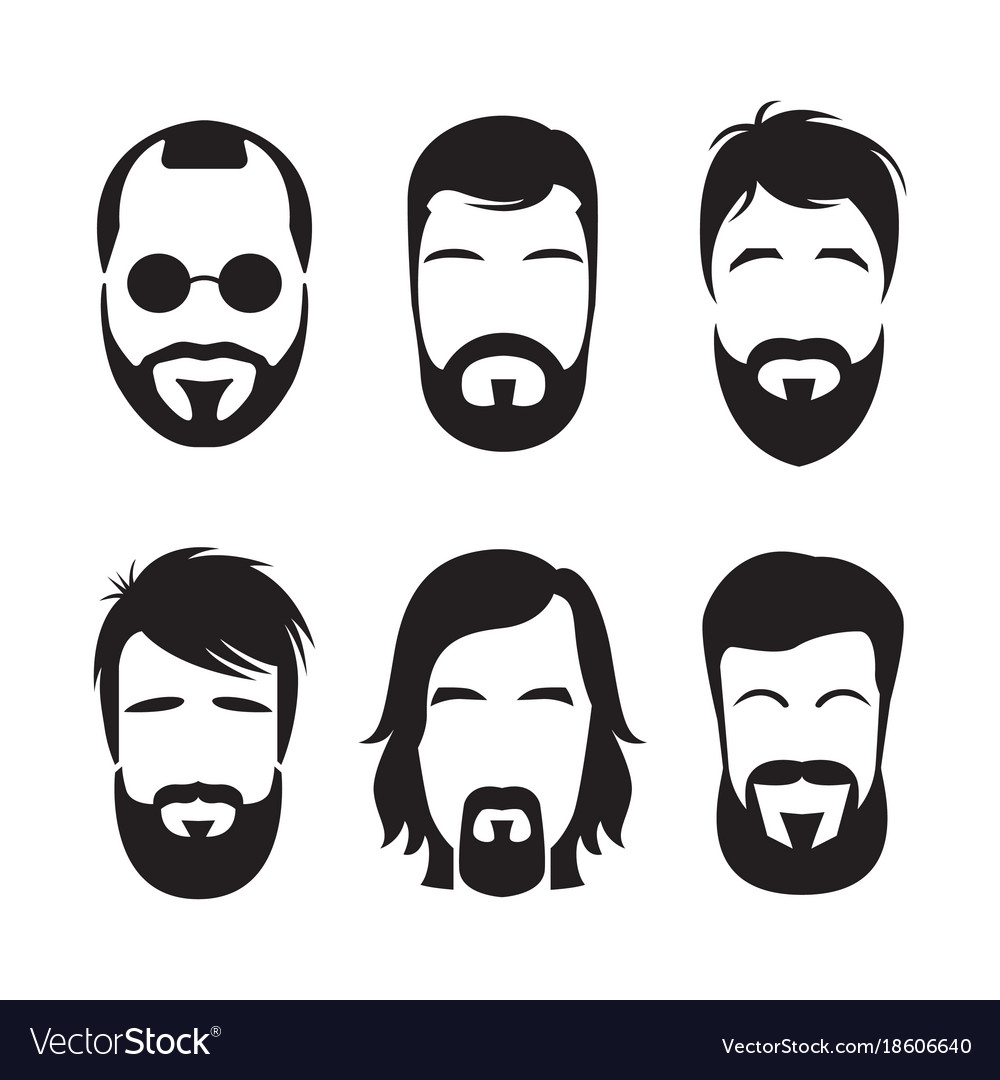 Set of bearded hipster men faces