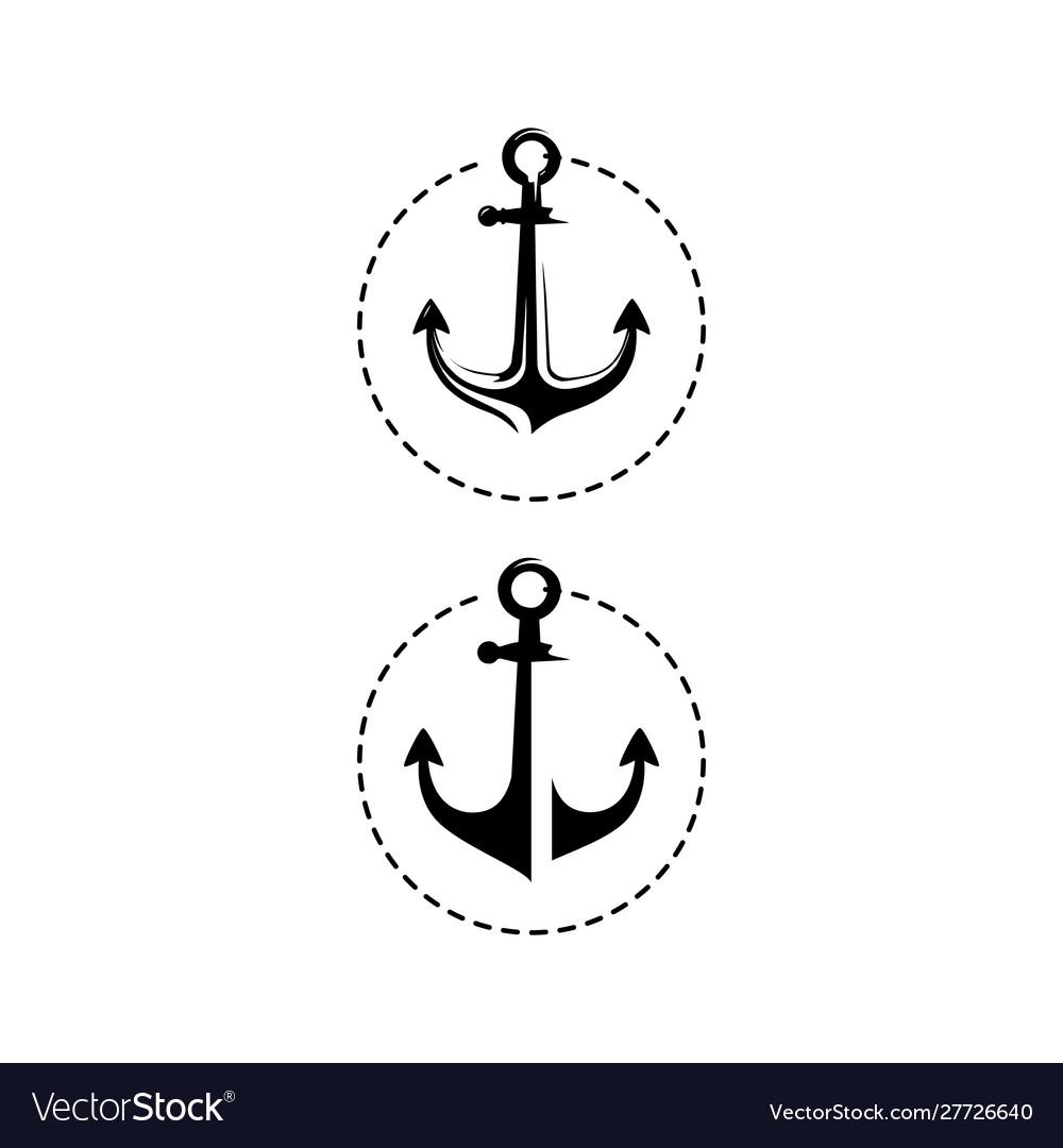 Simple black marine anchor logo nautical design
