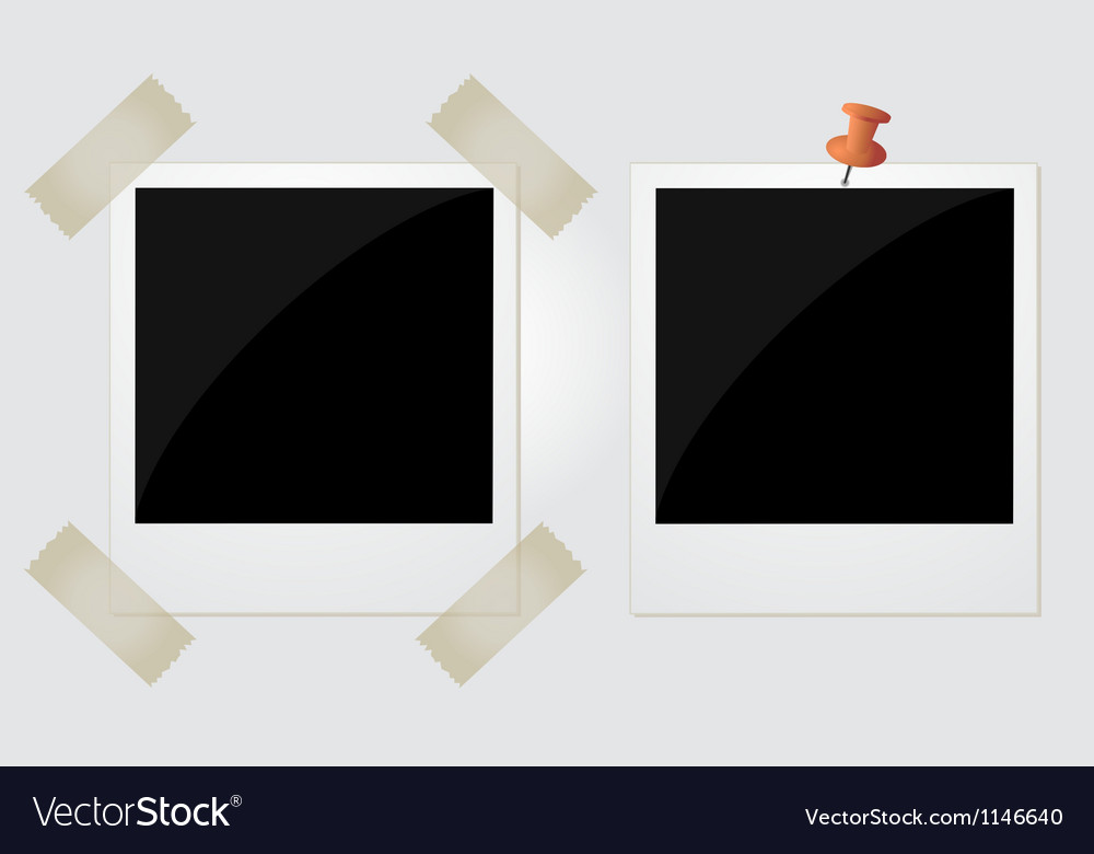 Two polaroid photos taped and pinned vector image