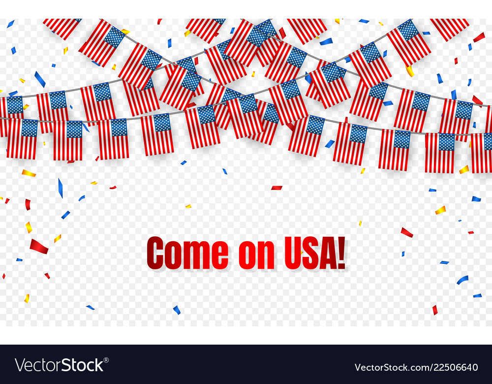 Usa garland flag with confetti on transparent