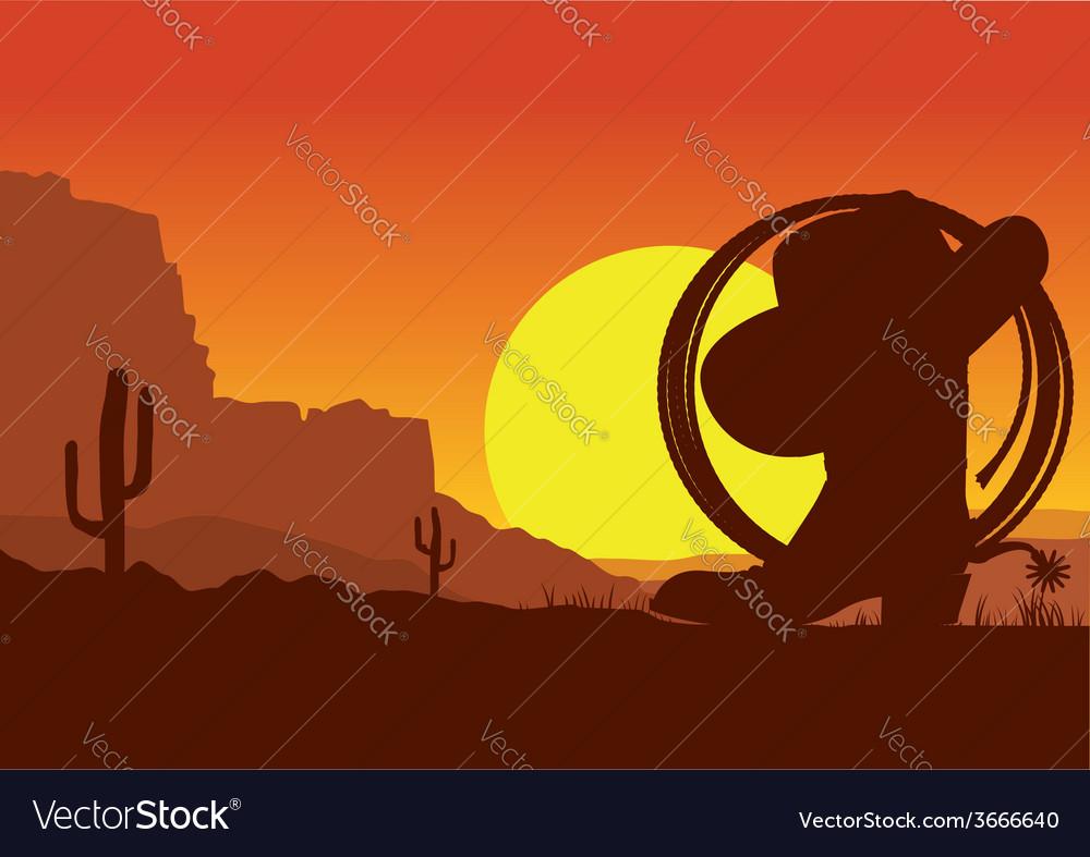 Wild west american desert landscape with cowboy
