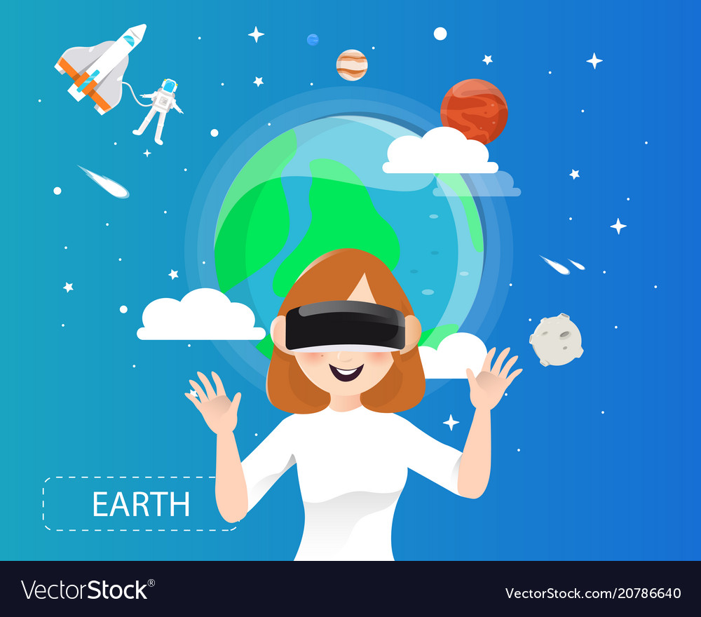 Women wearing virtual reality glasses looking the