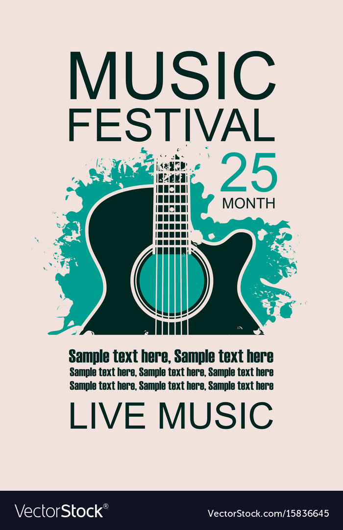 Banner With Acoustic Guitar On Grunge Background Vector Image
