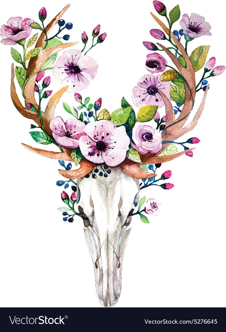 Bright watercolor deer skull with flowers vector image